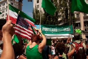 Iranian ex-patriots rally in Portland, OR