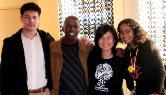 "From left: Greg Kristof, Mbaluka ""Luka"" Mutinda, Stacy Suh (2012 Kristof fellow), Cynthia M. Carrion (AIUSA National Youth Program Coordinator)"